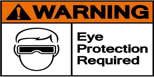 warning eye protection